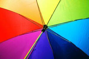 Umbrella with LGBT pride colours