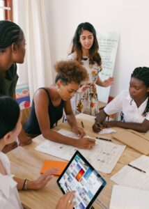 Group of woman making a plan