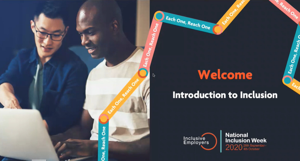 Welcome to Introduction to inclusion - 2 people pictured watching a webinar together