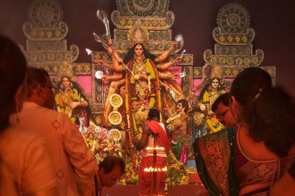 Hindus attending Diwali celebrations at temple