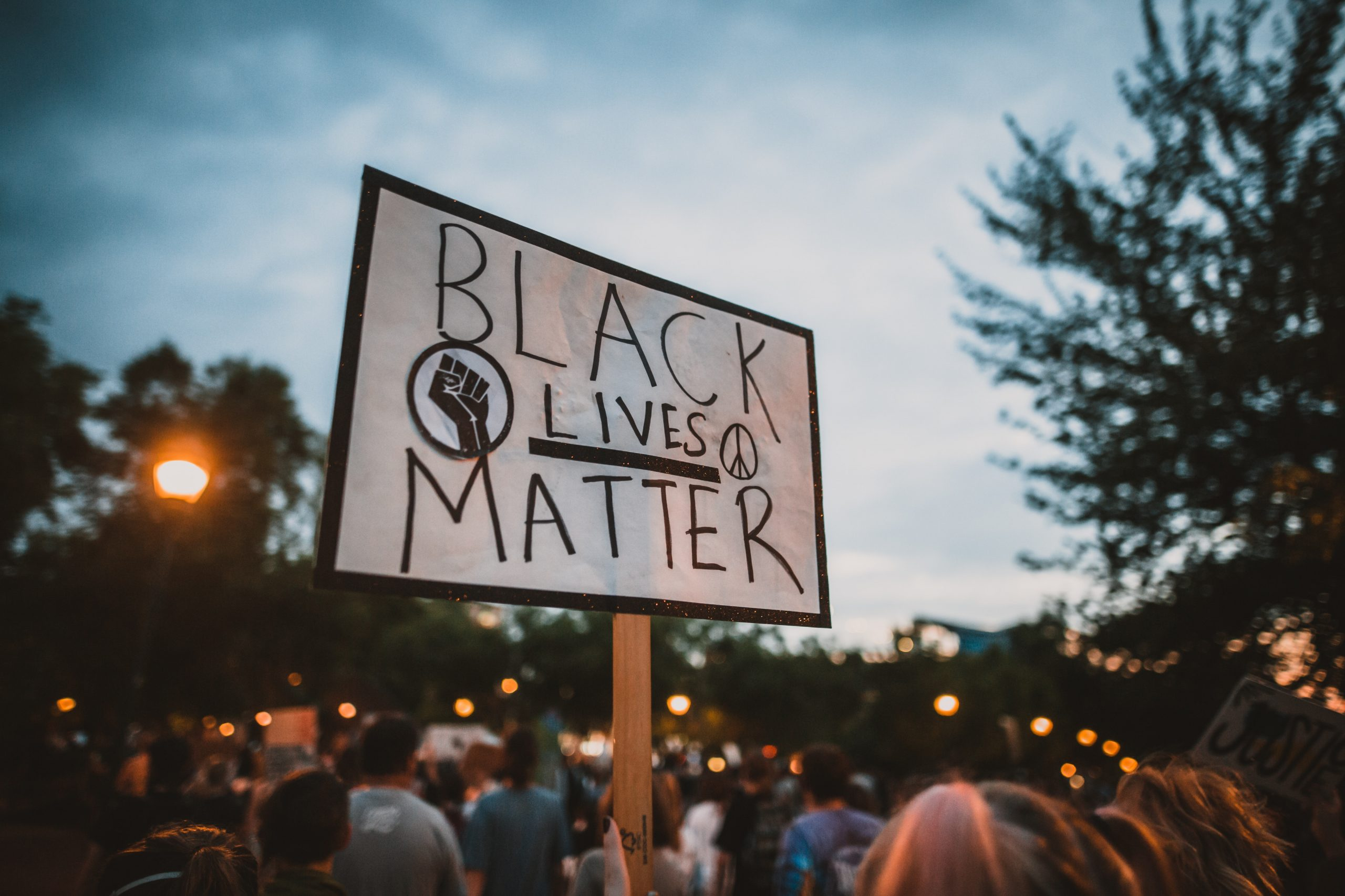 Person holding up black lives matter sign at protest