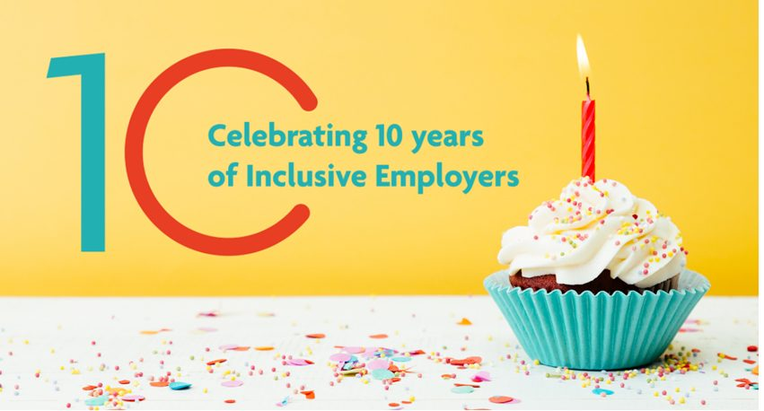 Figure 10 highlighting Inclusive Employers birthday with a cupcake and a candle
