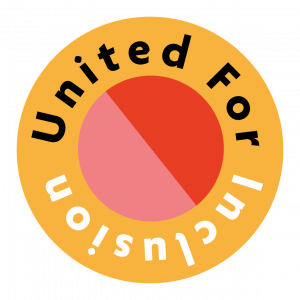 United For Inclusion written in a yellow circular logo