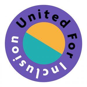 United For Inclusion written in a circular purple logo