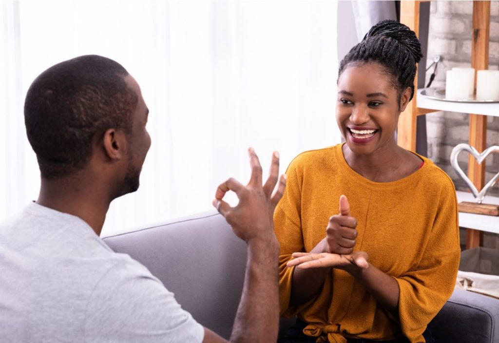 People communicating sign language