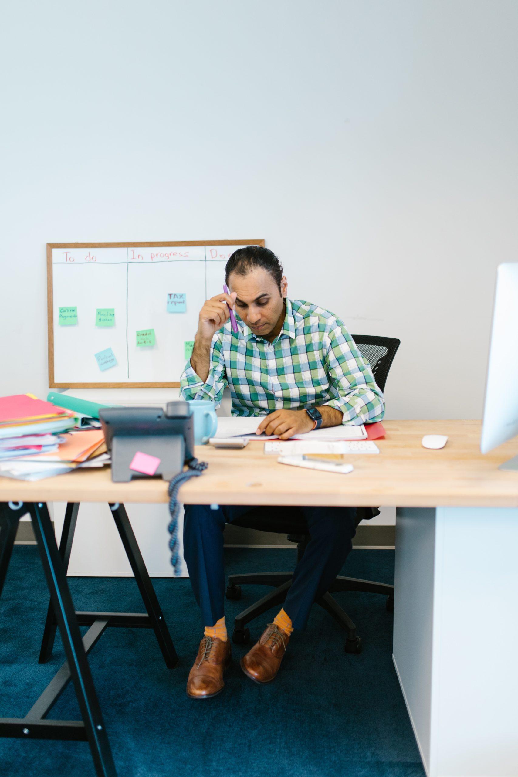 man overwork stress