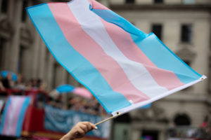 Someone holding a trans pride flag at a pride parade